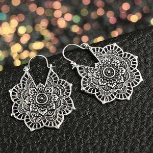 Silver BOHO Lotus Mandala Ornate Earrings
